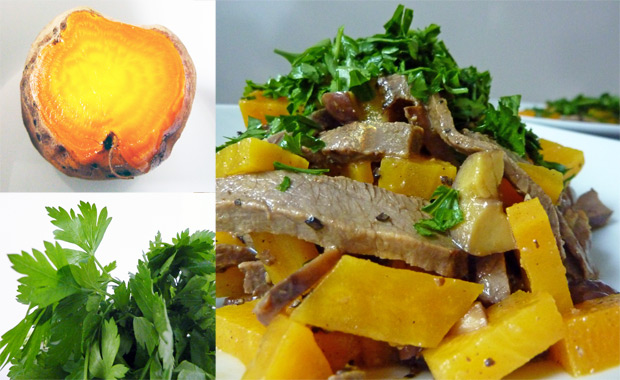 Rindfleischsalat mit gelber Beete und Maronen